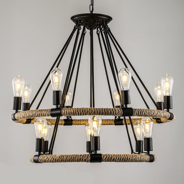 American Village Retro Rope Chandelier Creative Past Rustic Country Style Restaurant Bar Restoration Hardware Lighting