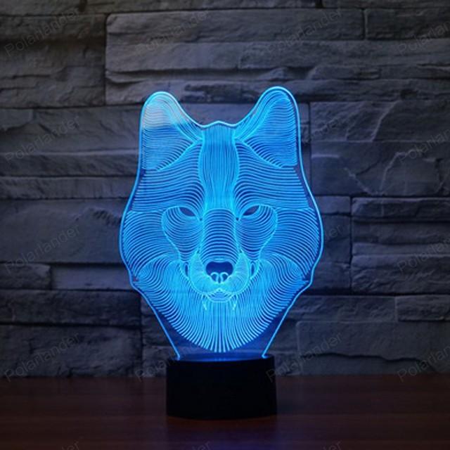 1 PCS 3D Lobo Luz Mosphere Acrílico em Forma de Botão de Toque Lâmpada de Mesa Luz Da Noite Lâmpada de Luz para As Crianças Para Dormir