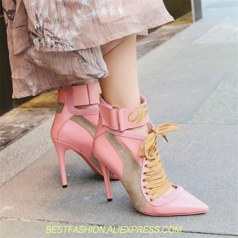 Ankle Strap High Heel Short Boots Fashion Luxury Pointed Toe Pumps Lace Up Ladies Shoes Women Party Gladiator Shoes Women цена
