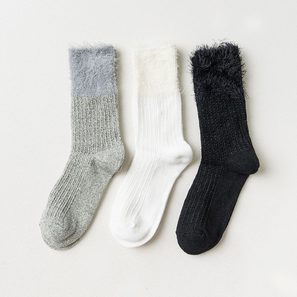 1 Pair Fashion Feather Solid Color Flanging Female Socks Women Autumn Winter Cotton Long Socks