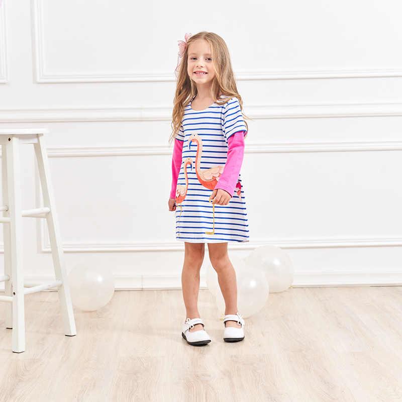 VIKITA ילדים ילדה שמלת פלמינגו ילדה נסיכת שמלות ילדים Cartoon רקמת Vestidos ילדי כותנה בגדי בנות טוטו שמלה