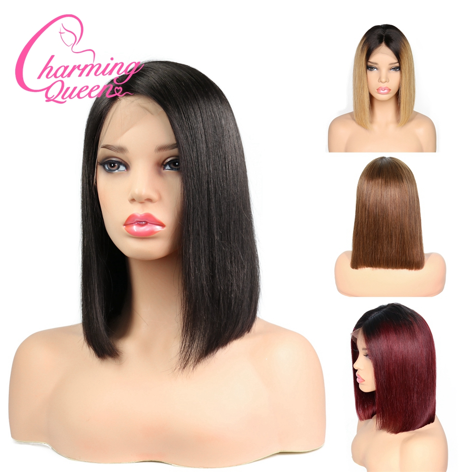 Charming Queen Bob Lace Front Human Hair Wigs For Black Women Brazilian Remy Hair Ombre Straight