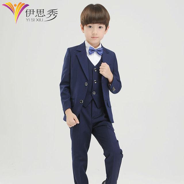 Boys Blue Page Boy Suits Boys Waistcoat Suit Kids Formal Tuxedo