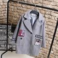 Character Badge Women Wool Blends Casual Plus Size Turn-down Collar Loose Pocket Single Button Long Coats Gray KK2227