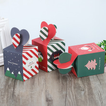 10pcs/lot Merry Christmas Striped Red Green Apple Box Special Christmas Eve Cookies Packaging Gift Box Carton Snowman Candy Box red eve