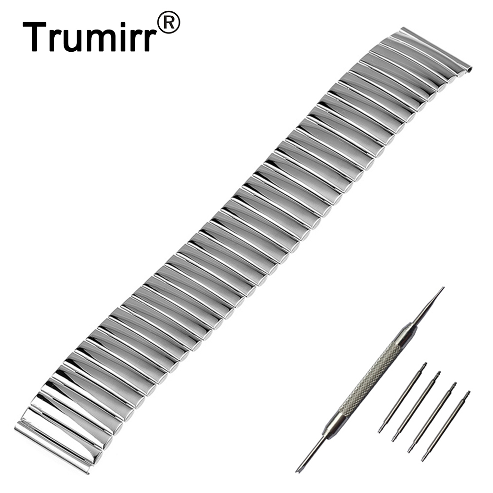 Elastic Stainless Steel Watchband 16mm 18mm 20mm 22mm 24mm Replacement Watch Band Universal Strap Link Bracelet Silver цены