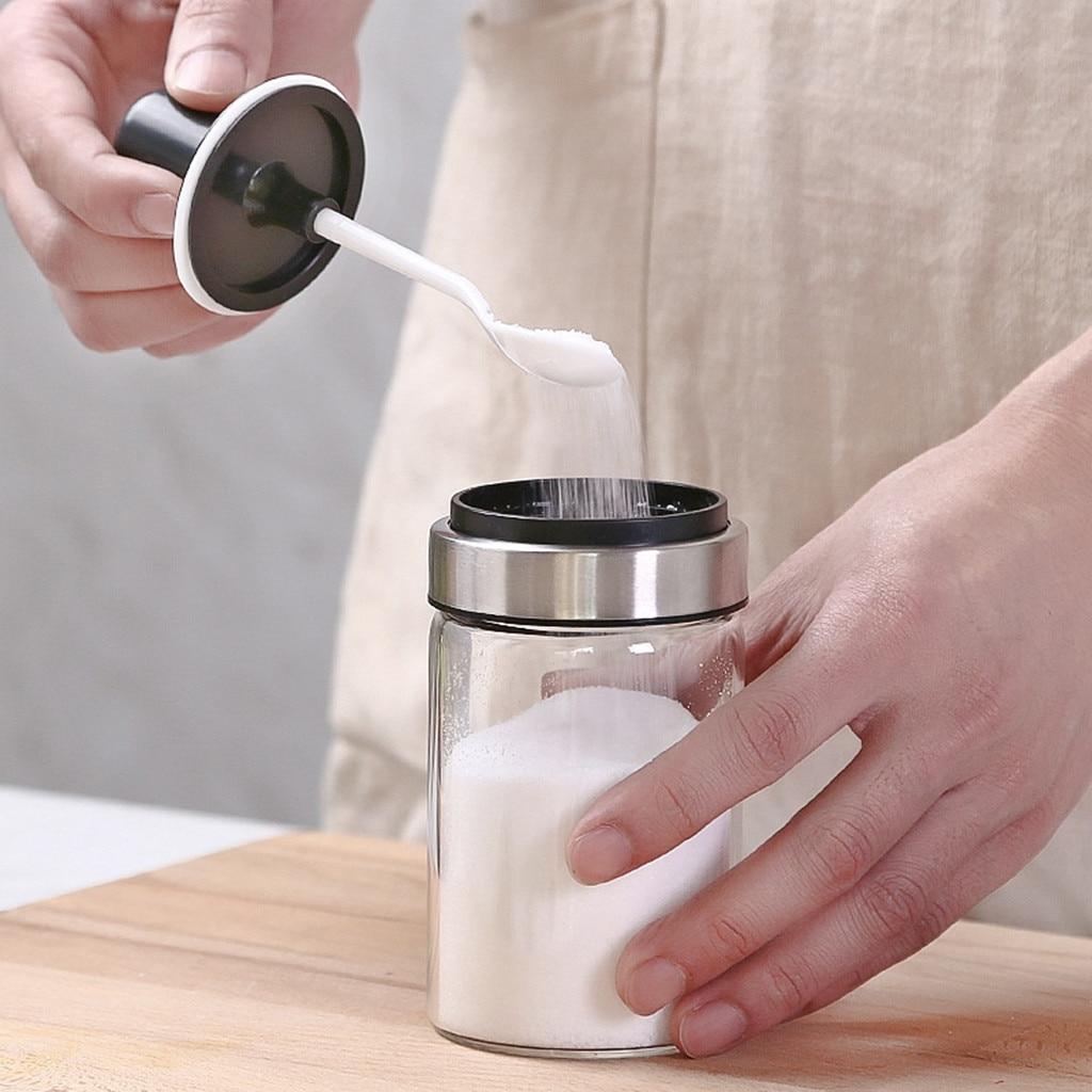 Kitchen Supplies Glass Seasoning Bottle Salt Storage Box Spice Jar With Spoon Creative Stainless Steel Storage Box Home(China)