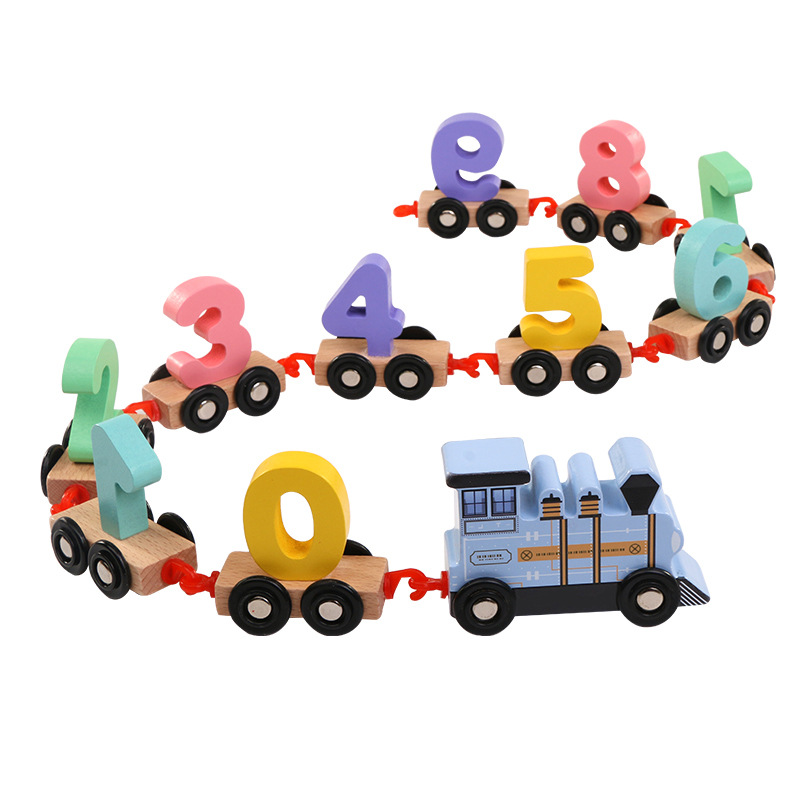 Children Toddlers Digital Small Wooden Train 0-9 Number Figures Railway Model Wood Kids Educational Toys Gift
