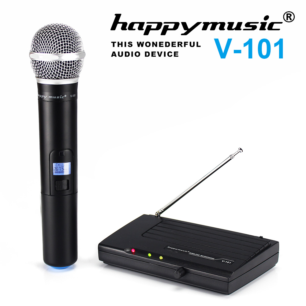 happymusic VHF Wireless Microphone System Dynamic Single Channel Handheld Karaoke Cardioid Microphone Professional system 8600c professional wireless microphone 8 channel professional vhf 8 stage karaoke microphone handheld wireless microphone