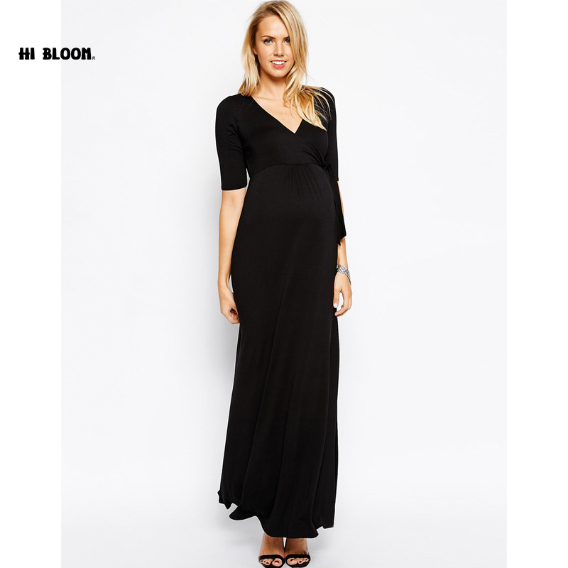 Maternity Clothes V-Neck Long Evening Gown Dress For Pregnant Women High Quality Pregnancy Party Prom Dress Nice VestidosMaternity Clothes V-Neck Long Evening Gown Dress For Pregnant Women High Quality Pregnancy Party Prom Dress Nice Vestidos