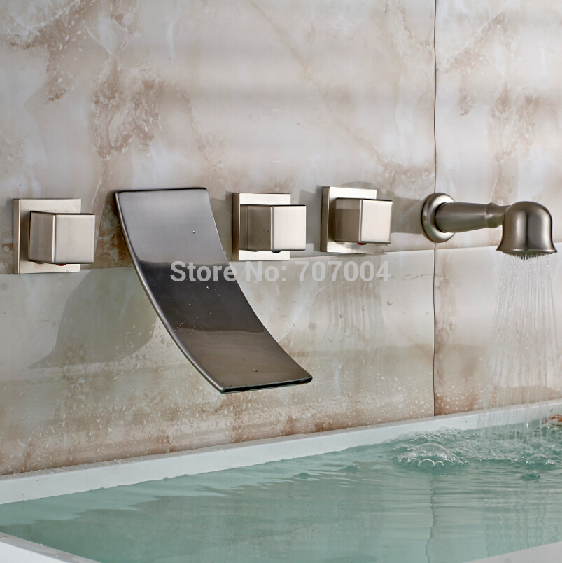 Luxury Wall Mounted 5pcs Waterfall Bathtub Tub Mixer Faucet Brushed ...