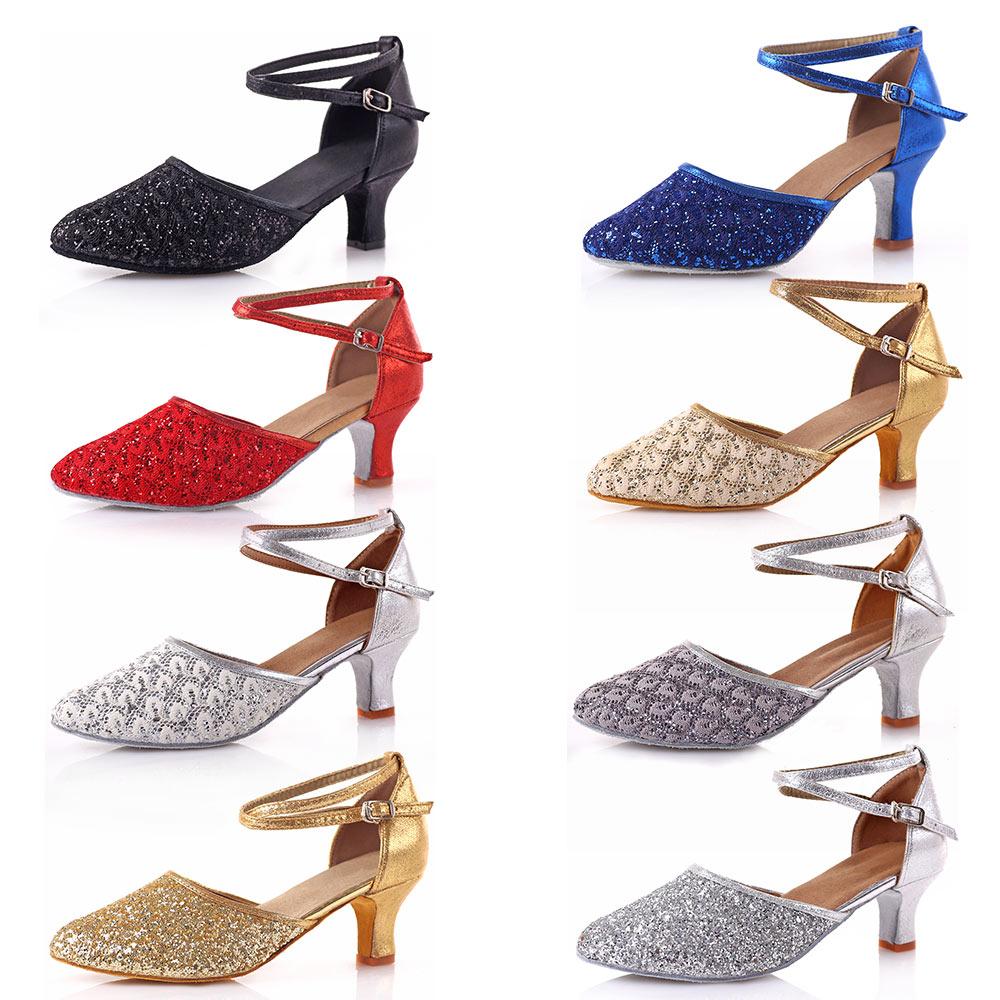 2018 Tumit Tinggi Glitter Wanita Sepatu Dansa Latin wanita Ballroom - Sepatu kets - Foto 5