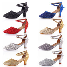 2018 High-heel Glitter Lady Latin Dance Shoes Women's Ballroom Tango salsa Tap Latin Dancing shoes For Ladies Black Latin Shoes