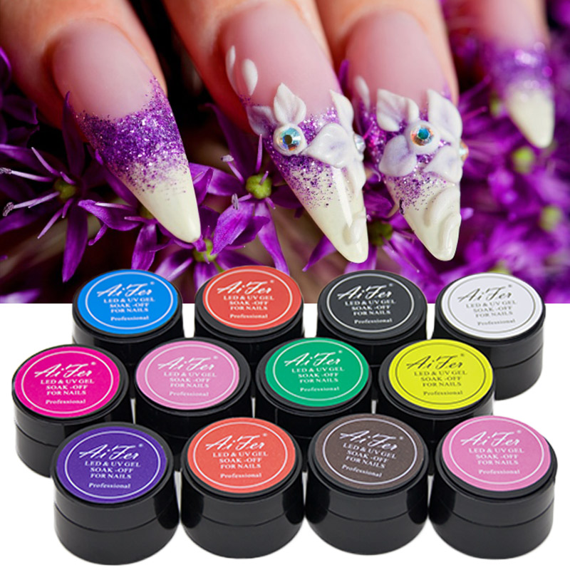 Saviland 1pcs 3D Bright Soak Off Carved Patterns UV Gel Polish Nail Art Modelling Manicure 12 Color Sculpture Glitter