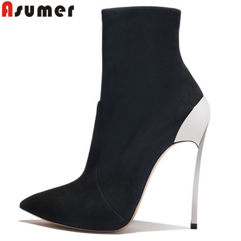 ASUMER black fashion autumn winter shoes woman pointed toe ankle boots women thin heel flock ladies boots high heels shoes meotina women boots winter pointed toe ankle boots zip high heel women shoes 2018 thin heels solid ladies fashion boots autumn