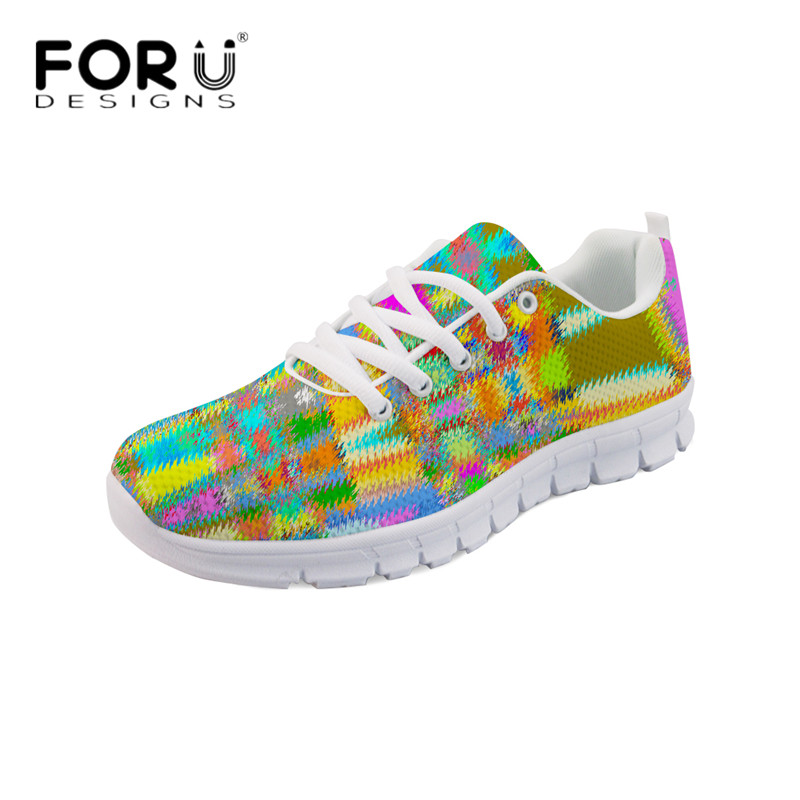FORUDESIGNS Women Spring Summer Flats 3D Hand Painted Ladies Breathable Mesh Sneakers Students Girls Light Weight Walking Shoes forudesigns teen girls summer pink flat shoes cute nurse bear print women light mesh sneakers casual comfort walking shoes mujer