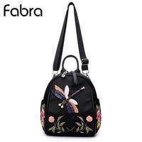 Fabra Small Waterproof Nylon Women Backpack Embroidery Flower Shoulder Bag Dragonfly Backpacks For Teenager Girls Daypacks