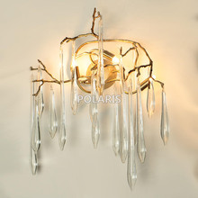 Modern Glass Drop Crystal Chandelier LED Wall Sconce Lamp Brass Wall Light Copper Wall Lighting for Home Hotel Bed Room Decor(China)