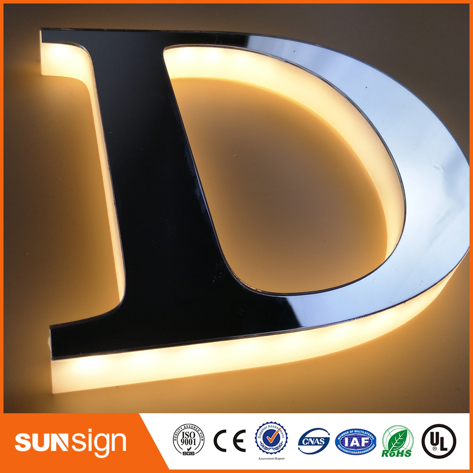 Stainless Steel Faces Acrylic Backs Acrylic Backlit Letters