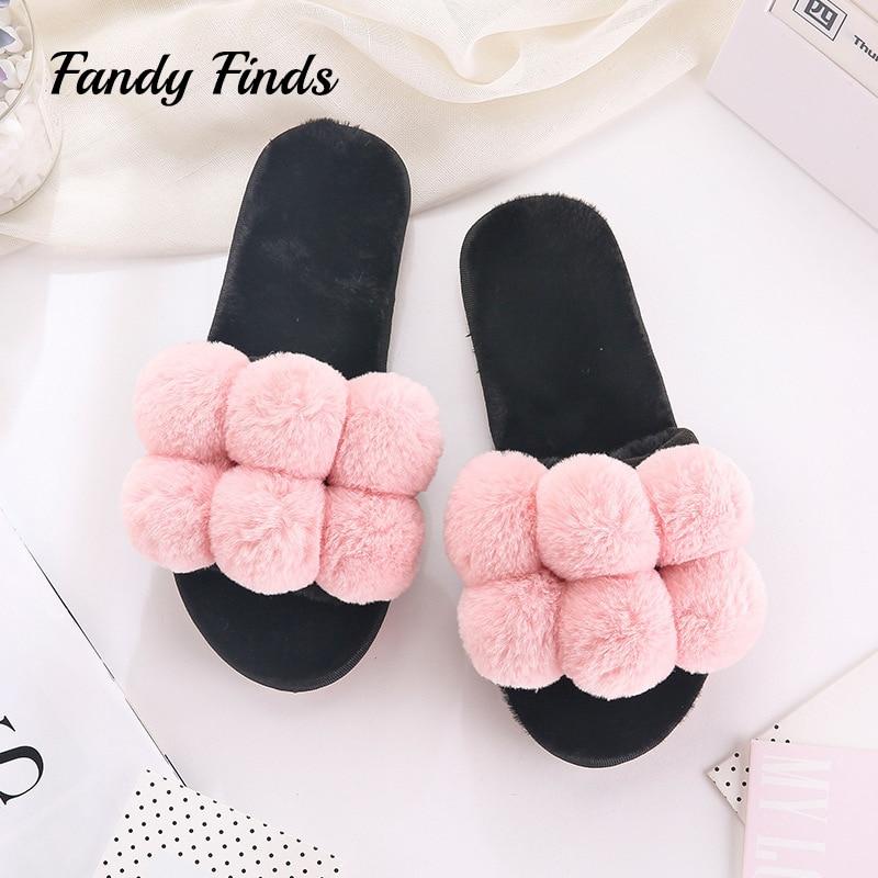 все цены на Fandy Finds Pom Pom Winter Home Ladies Slippers Plush Autumn Peep-Toe Flat Indoor House Women Girl Faux Fur Warm Slippers