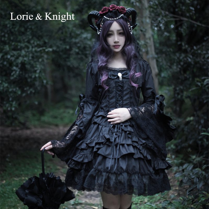Haloween Cosplay Black White One Piece Gothic Lolita Long Sleeves Cotton Lace Layered Dress