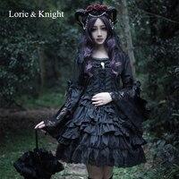 Хэллоуин Косплэй черный/белый Одна деталь готическая лолита одежда с длинным рукавом из хлопка и кружева многослойное платье