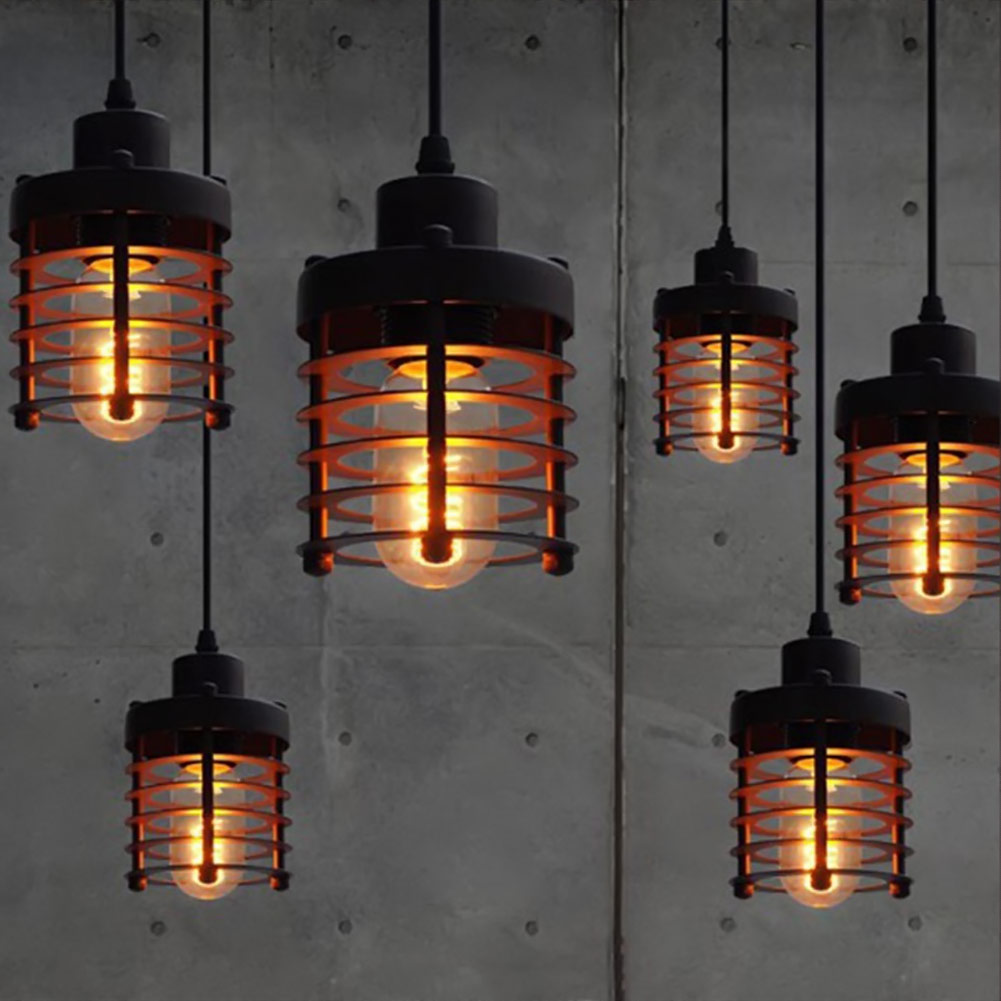 Us 19 74 21 Off Retro Indoor Vintage Pendant Light Metal Minimalist Led Hanging Lights Rust Iron Cage Lampshade Fixture In Ceiling