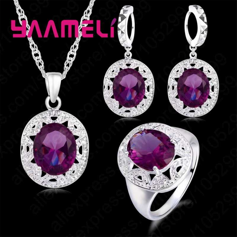 Top Quality Wedding Jewelry Sets 925 Sterling Silver Purple Cubic Zircon Necklace/Earring/Ring For Sale Optional Size For Ring