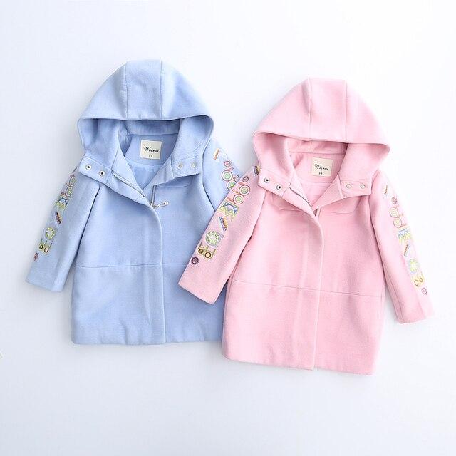 Toddler Girl Autumn Winter Cotton Pattern Coats Long Baby Wool Blends Fashion Kids Hooded Outerwear Children Blends 6pcs/LOT