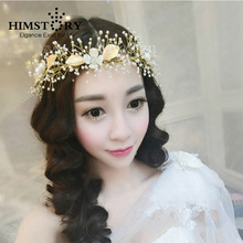 2015 Newest Gold Handmade Beads Crystal Flower Wedding Hair Accessories Tiara For Bridal Head Jewelry