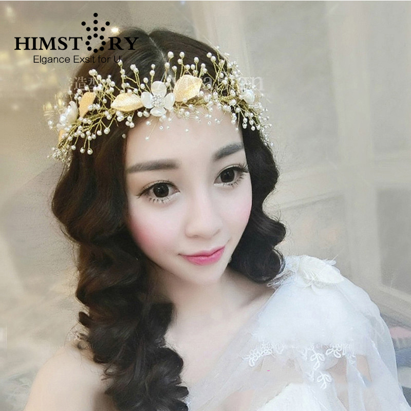 HIMSTORY Newest Gold Handmade Beads Crystal Flower Wedding Hair Accessories Tiara For Bridal Head Jewelry
