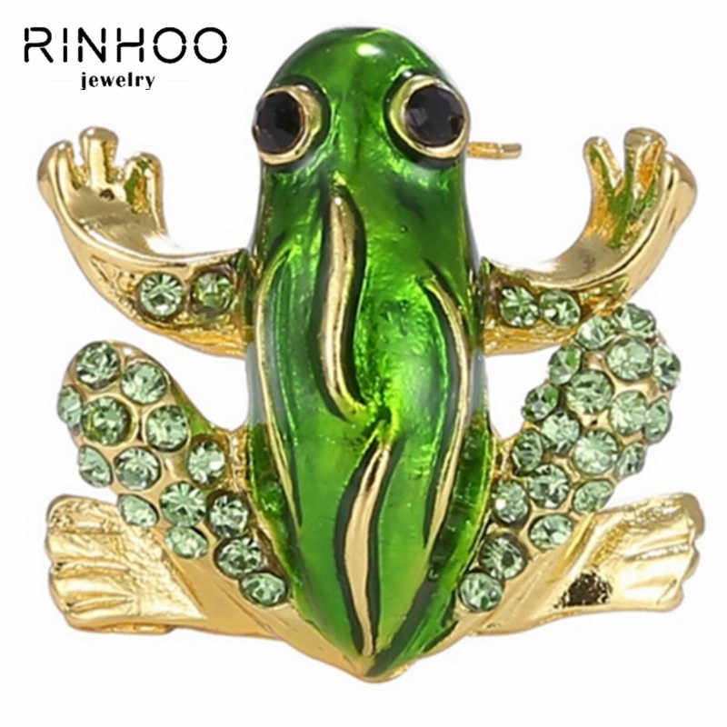 Rinhoo Rhinestone Pins Brooches Animal Brooches For Women Small Fashion Jewelry Lovely Crystal Frog Brooches