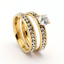 Fashion 316L Stainless steel Ring Sets for Women Luxury Gold Silver wedding Jewelry With Cool white Zorcon crystal Jewelry Gift bridal sets fashin milky pink ring with white gold plate gift present for women