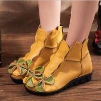 Tay ban đầu mùa thu phụ nữ giày Mũi giày đế giày bò da real da nữ phong cách dân gian căn hộ cho mẹ ZCW0309