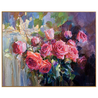 PHKV Oil Painting By Numbers Drawing Nodular Red Rose Flowers Wall Art DIY Oil Painting By