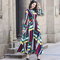 Vintage Dress Spring Summer New Famous Casual O Neck Long Sleeve Party Clothing Printed Luxury Maxi Chiffon Dress Slim Waist
