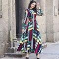 Vintage dress primavera verano nuevas famosos casual o cuello de manga larga ropa de fiesta de lujo impreso gasa maxi dress cintura delgada