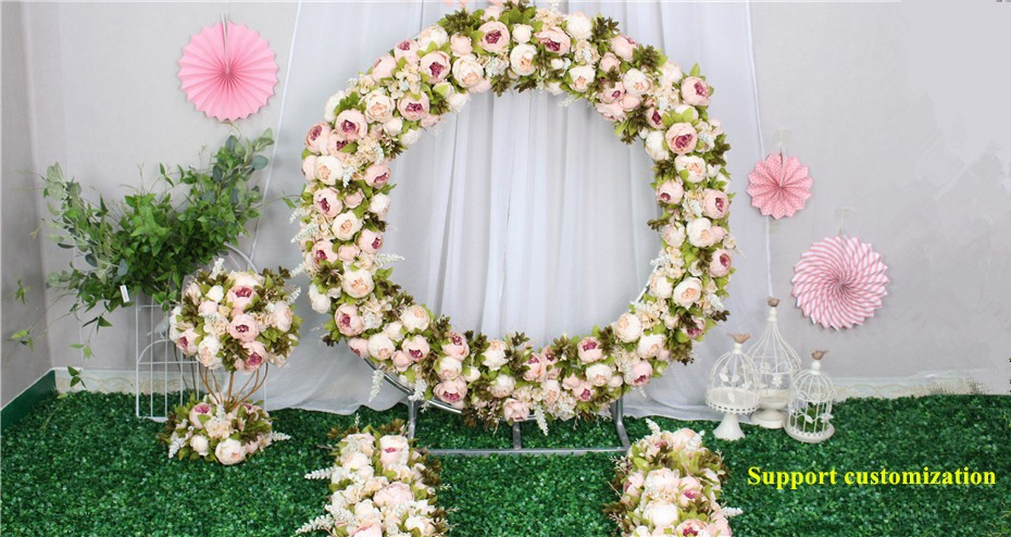2845412238c DIY Wedding simulation silk flower wall cherry blossom tail floral wedding  welcome decor photo studio background road lead row