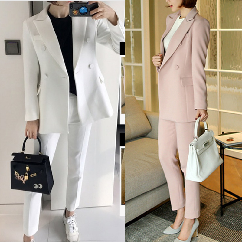 New Suit Suit Female Korean Fashion White Slim Small Suit Nine Pants Two Sets Of Professional Wear Loose Women's Wild Suit Trend