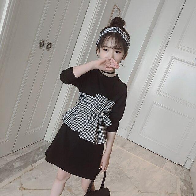 Клетчатое платье для маленьких девочек, осень 2018 года, новое Сетчатое платье для детей, платья для девочек, Осенняя детская одежда для девочек, черное платье для детей 10-12 лет