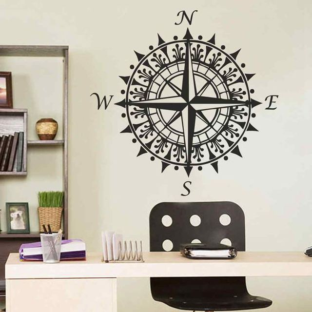 BATTOO Compass Rose Nautical Wall Stickers Office Decor Great Christmas  Gift Holiday Gifts