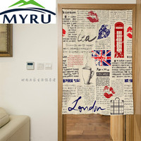 MYRU Retro London Elements Freehand Door Curtain Polyester Decorative Partition Mould Proof Shade Door Curatin 85x120cm