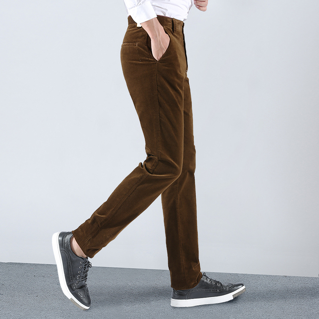 2018 New Brand Spring Winter Mens Corduroy Pants Business Casual Men Trousers Stretch Khaki Black Pants For Men High Quality 2