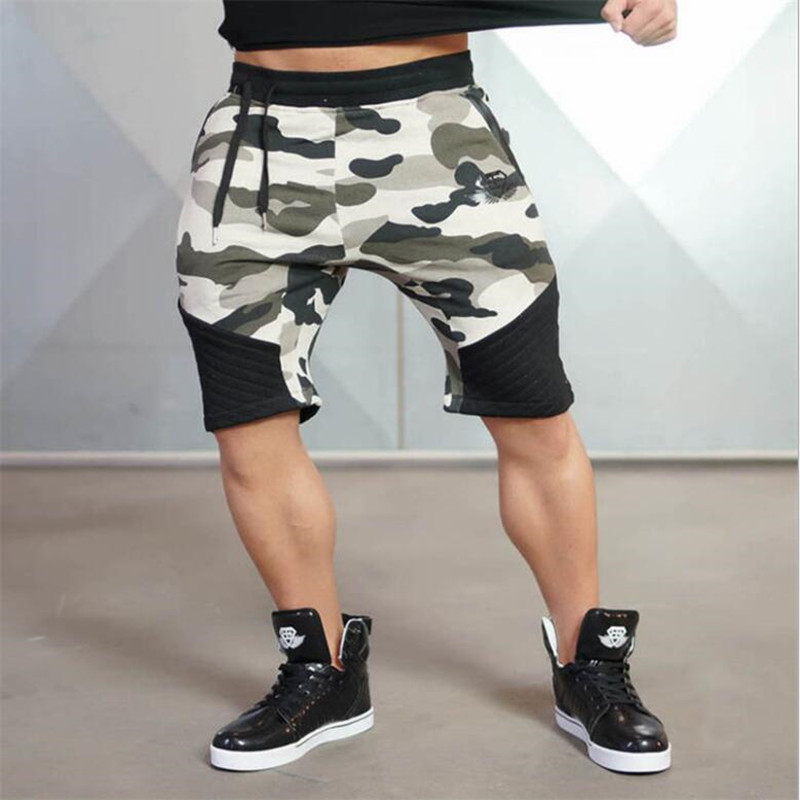 new arrival  Mens tight bodybuilding camouflage shorts workout Gym running shorts 6 colors(China)