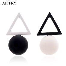 ФОТО Aiffry Triangle Different Candy Color Earrings  Women   Stud Earrings From Korean Earings Jewelry