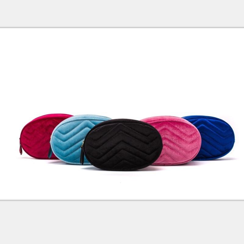 Elliptic Waist Bag V Stripe Chest Bag Pu Leather Wallet Velvet Purse Red Pink Blue Black White 1805