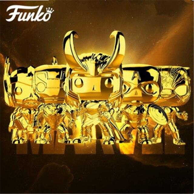 Official FUNKO POPมหัศจรรย์10th Anniversary Black Panther Iron Man Loki Grootตุ๊กตาไวนิลAction & Figureของเล่นวันเกิดของขวัญ