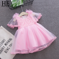 HE Hello Enjoy Baby Dresses Girls Pink Puff Sleeve Lace Flowers Bow Princess First Birthday Girl