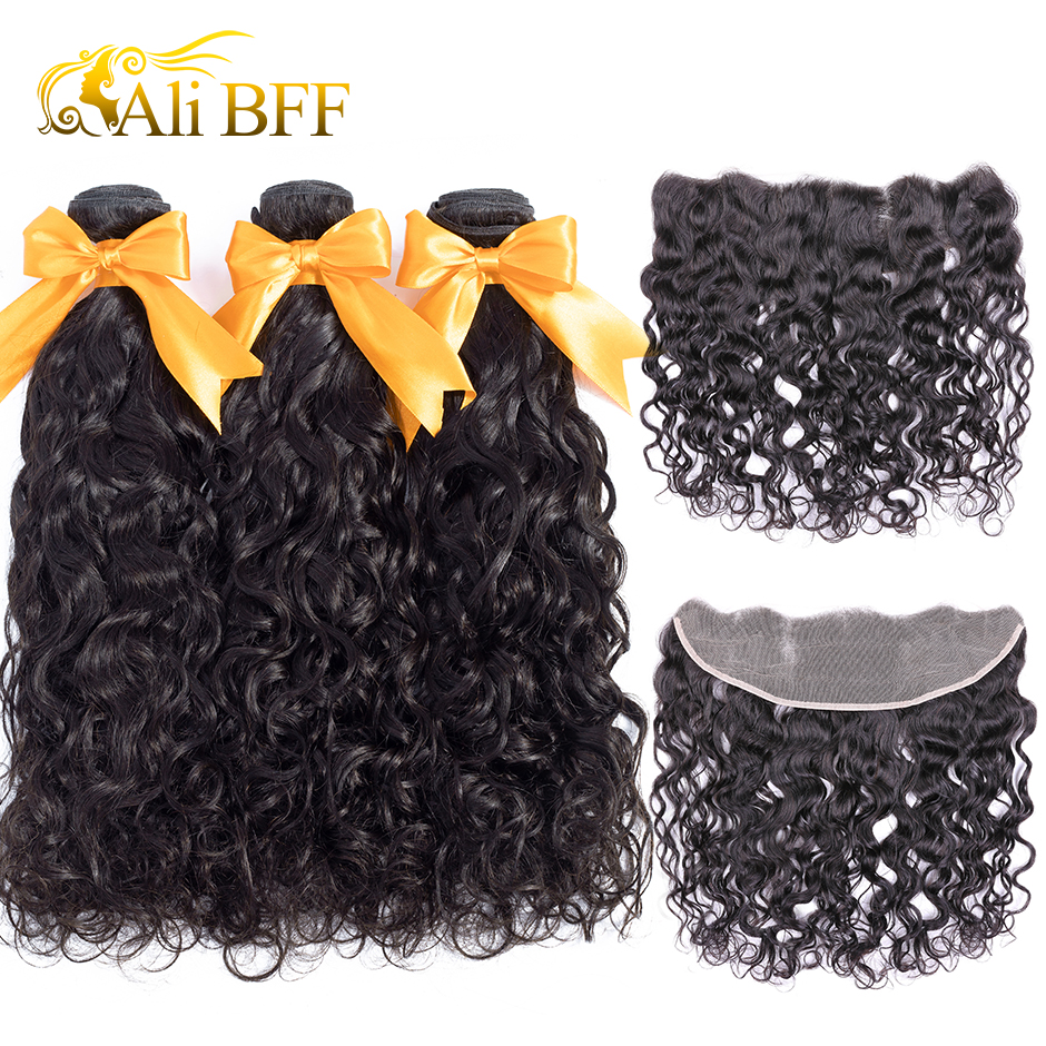 Water Wave Bundles With Frontal 3 Bundles Malaysian Human Hair ALI BFF Remy Hair Pre Plucked Lace Frontal Closure With Bundles