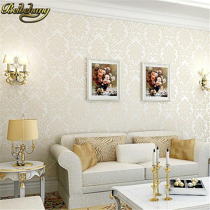 Beibehang papier peint moderne papier peint 3d papier peint de luxe flocage Floral damassé papier peint rouleau pour salon chambre TV toile de fond